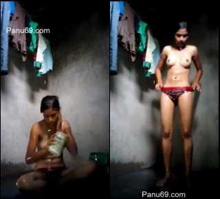 village girl taking bath captured